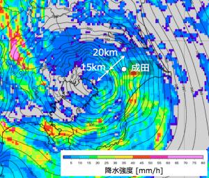 図10: 22日14時10分の「WITHセンサー」の海面気圧(等値線)と降水強度(色、気象庁レーダー)。白丸はアメダス成田の位置を示す。