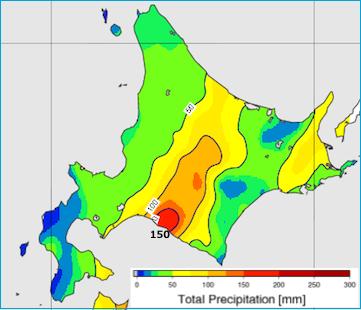 図12: 22日12時~23日12時の24時間積算雨量(アメダスの解析)