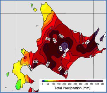 図13: 16日12時〜23日12時の7日間積算雨量(アメダスの解析)