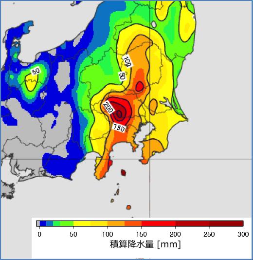 図5: 21日19時〜22日19時の24時間積算雨量(アメダスの解析)