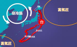 寒冷渦の南下により北東に方向転換、左カーブを描いて北上