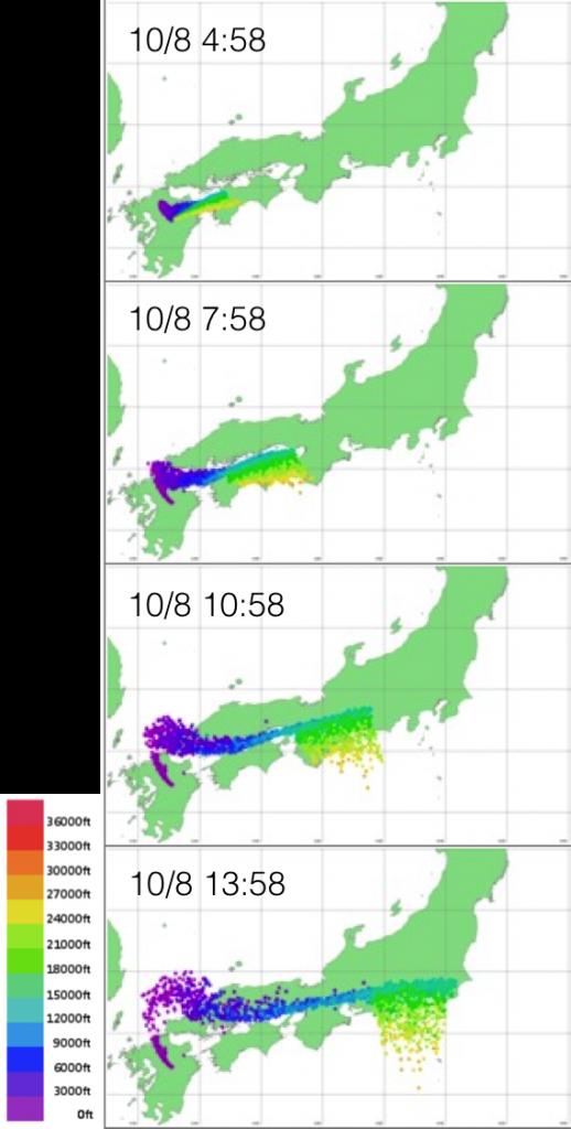 図6:ウェザーニューズ地象センターによる火山灰拡散予測 黄色は上空およそ8,000mを示す