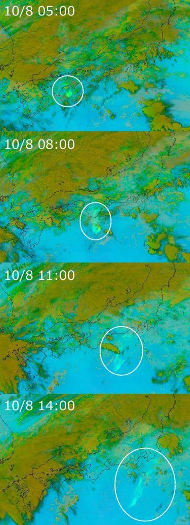 図7:ひまわり8号赤外3バンドによる火山灰解析画像