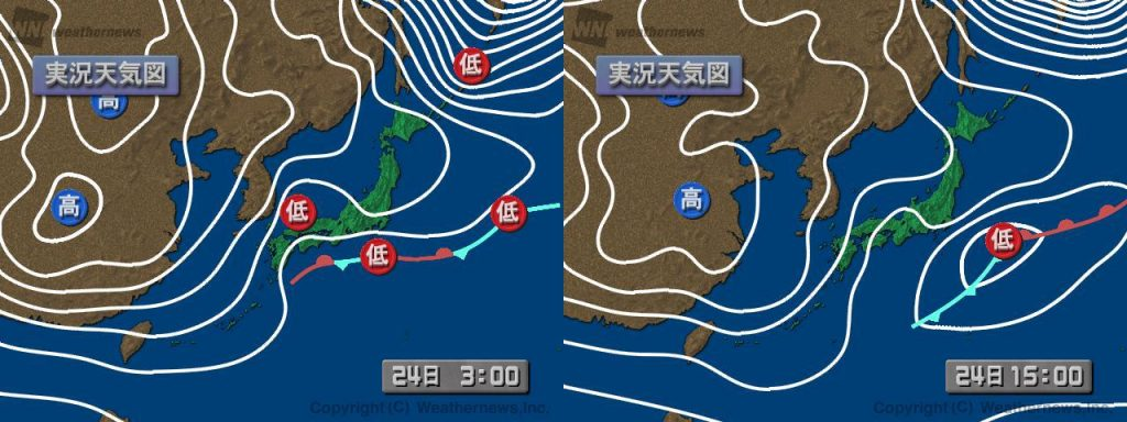 図4:天気図(左:日本時間24日3時、右:24日15時)