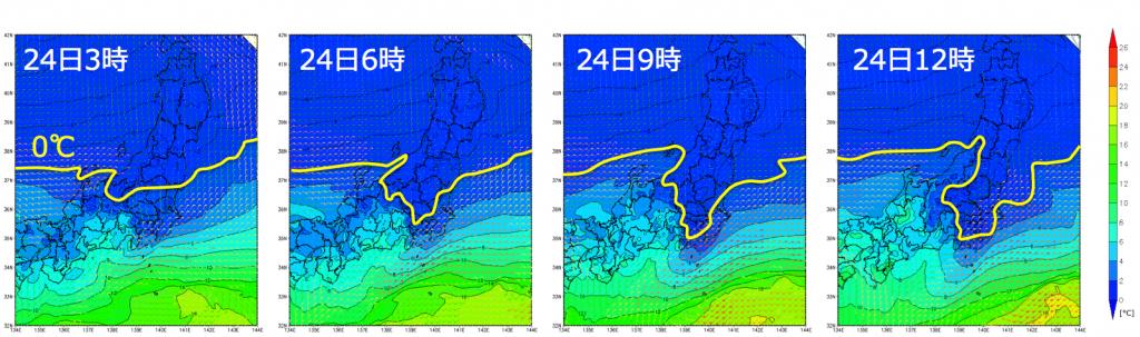 図5: 高度約500mの気温(気象庁毎時大気解析)