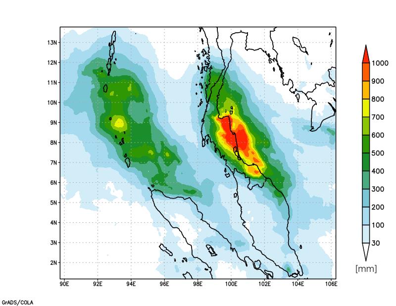 図2:2016年12月1日から12月7日までの6日間の積算降水量 (JAXAの全球降水量解析データGSMaPより算出。リモートセンシングであるため、図1のような地上での観測に比べて一般的に誤差が大きい。)