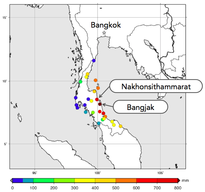 図1:タイ南部の2016年12月1日から12月7日までの6日間の積算雨量 (タイ気象局の自動気象観測(AWS))