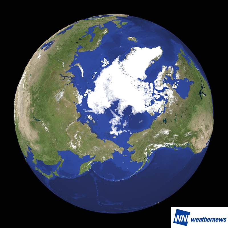 図 1.2016 年の最小面積となった 9 月 7 日の北極海の海氷分布