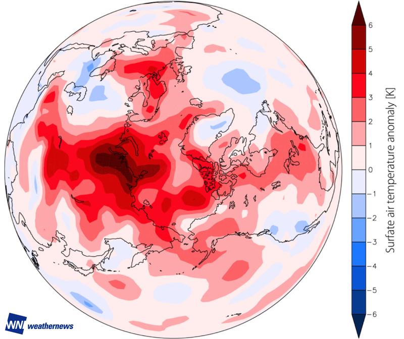 図 3.2016 年 9 月の平均気温の平年差