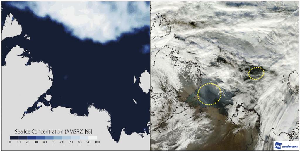 図 5.2016 年 9 月 16 日の北極海ラプテフ海における 受動マイクロ波観測衛星(GCOM-W)による海氷解析図(左)と可視衛星(Terra)による衛星画像(右)