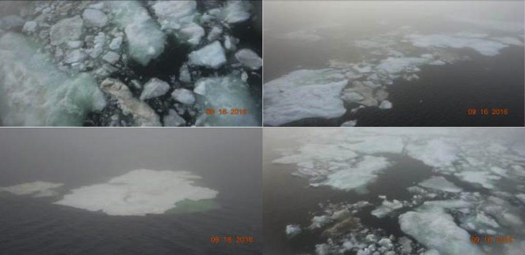 図 6.2016 年 9 月 16 日に北極海ラプテフ海を航行した弊社サポート船による海氷の写真