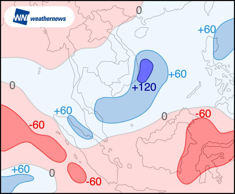 図5:2016年12月16日から2017年1月12日までの予想積算雨量の平年偏差(単位:mm) (気象庁1ヶ月予報より算出)