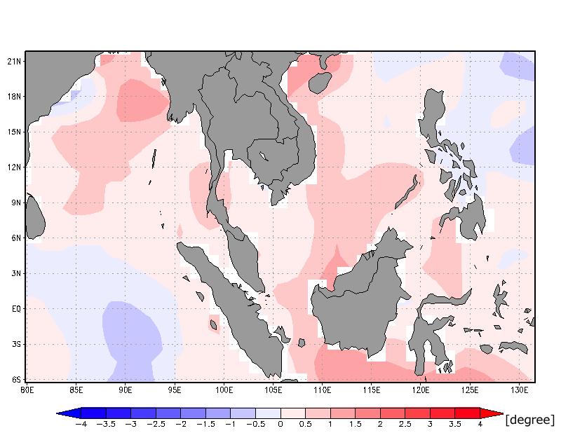 図3:2016年11月27日〜12月3日の平均海面水温の平年偏差 (米国大気海洋庁の海面水温データより算出)