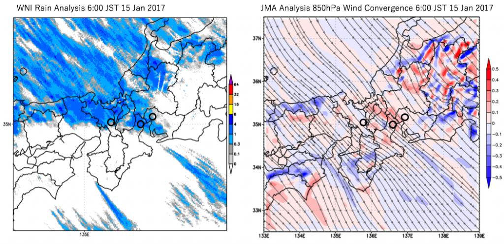図10:1月15日6時のウェザーニューズの解析雨量(左)、気象庁毎時大気解析の上空約1,500mの風と収束 (右、赤が収束、青が発散)、丸は京都、四日市、名古屋の各都市を示す