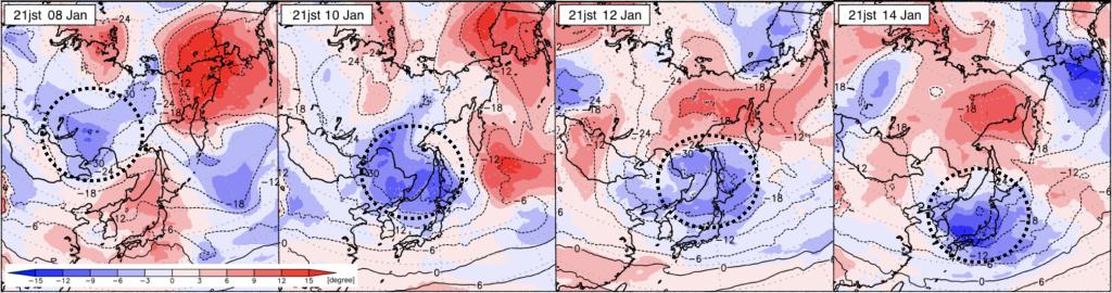 図6:上空約3,000mの気温の推移(1月8、10、12、14日のそれぞれ日本時間21時、 米国GFSモデルの解析気温(等値線)及び、そのNOAA平年値からの偏差(色)。点線の丸は今回の強い寒気を示す。)