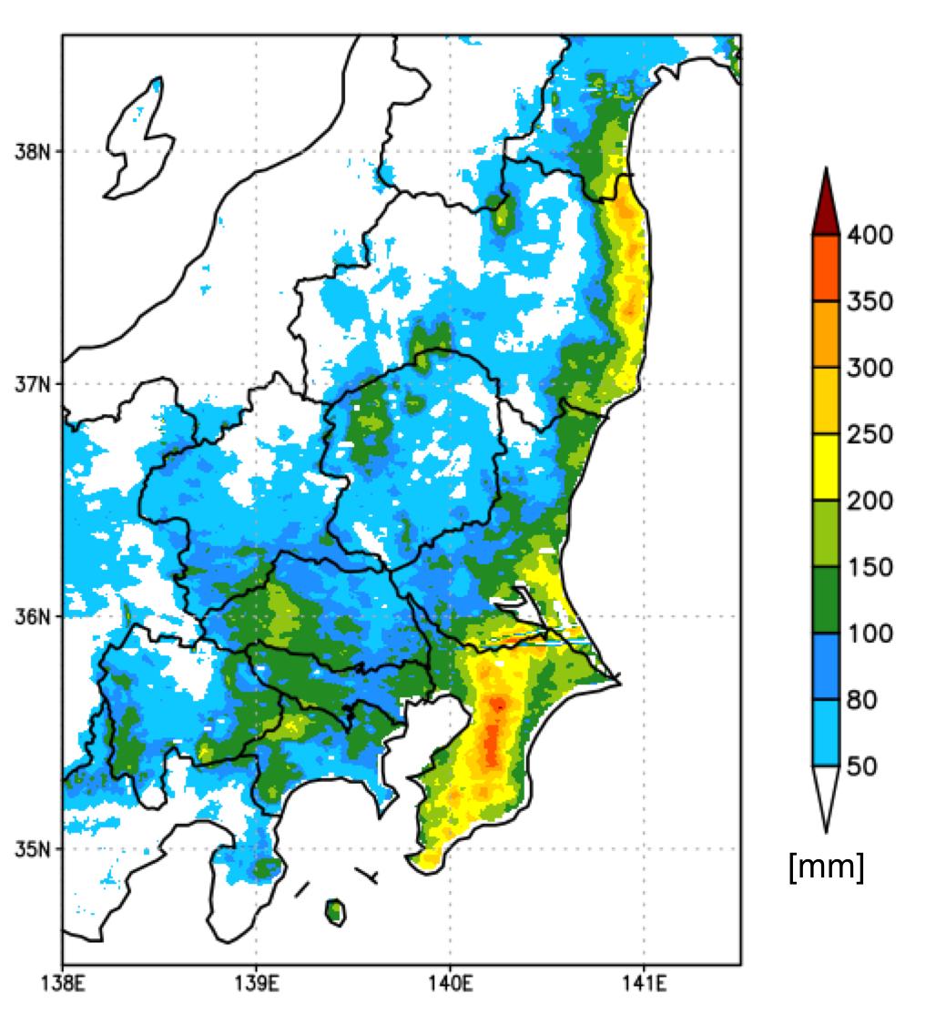 図3:ウェザーニューズ解析雨量<br /> (25日0時から24時までの積算降水量)